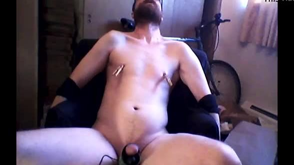 Orgasm in self bondage