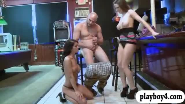 Two sexy women fucked by pervert man on billiards table