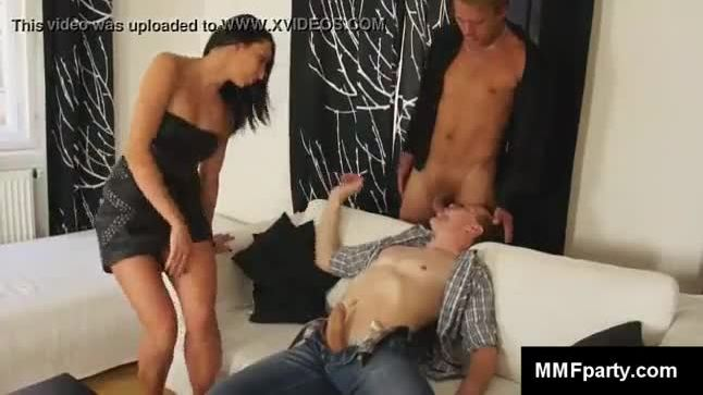 European couple and hot bisexual boy in mmf threesome